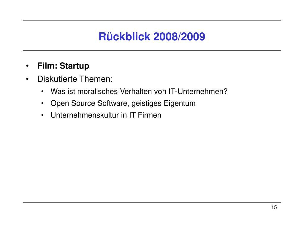 Rückblick 2008/2009