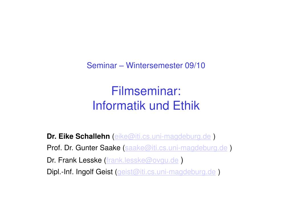 Seminar – Wintersemester 09/10