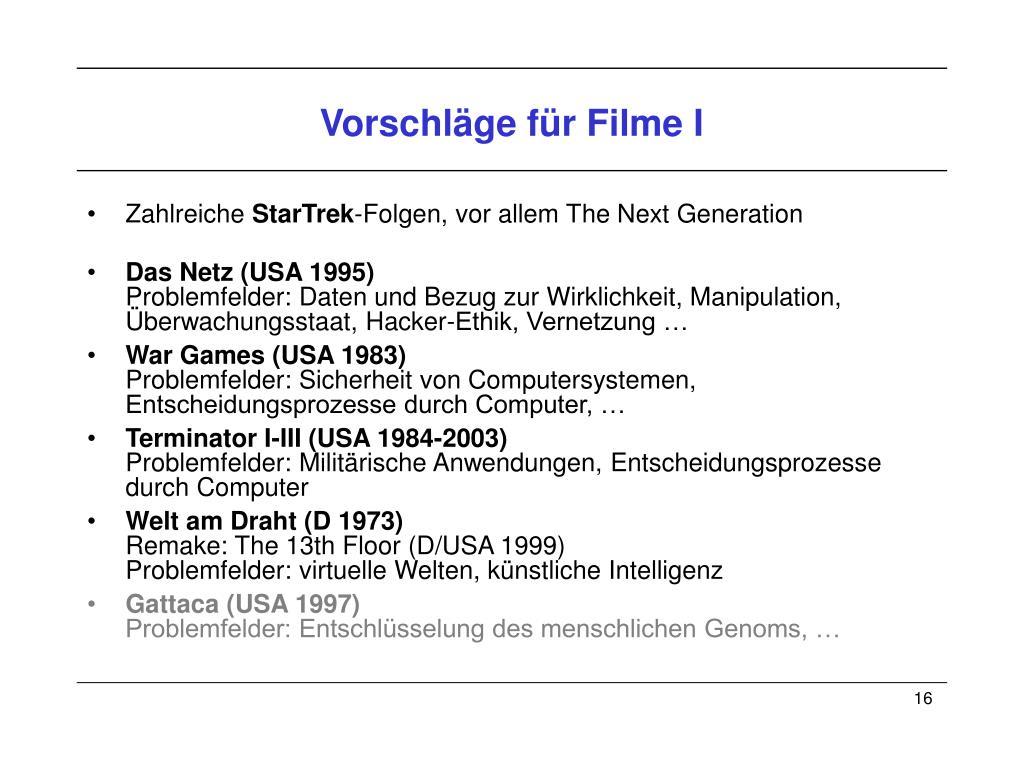 Vorschläge für Filme I