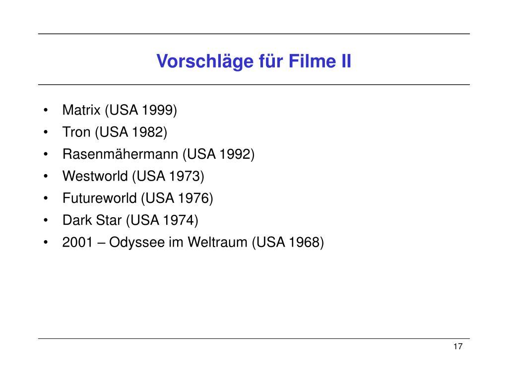 Vorschläge für Filme II