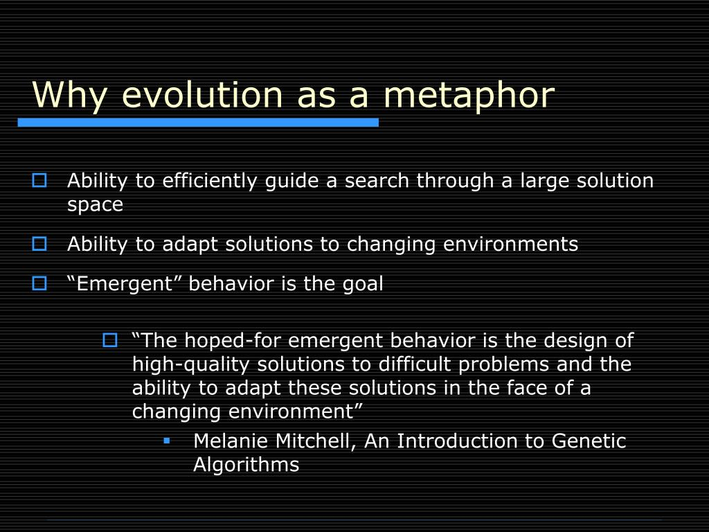 Why evolution as a metaphor