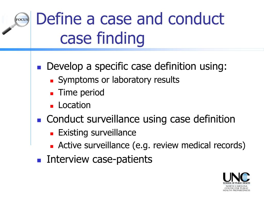 Define a case and conduct case finding