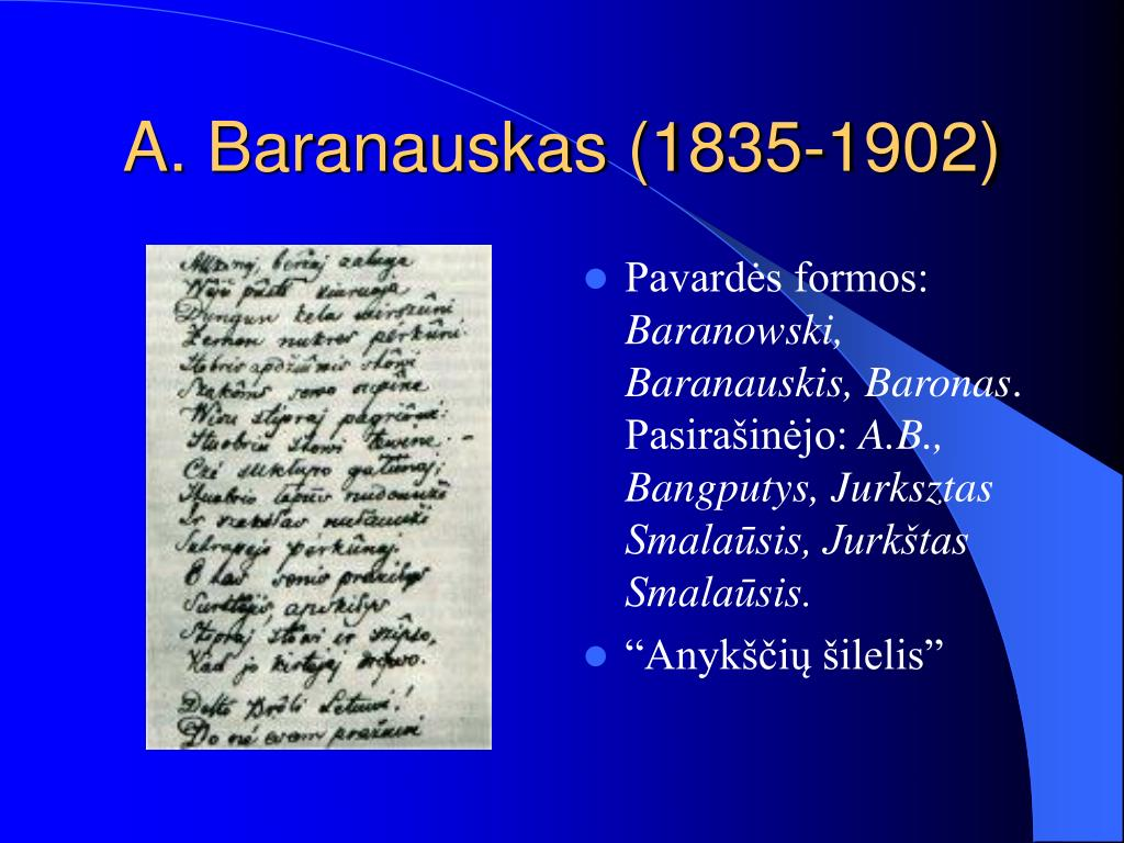 A. Baranauskas (1835-1902)
