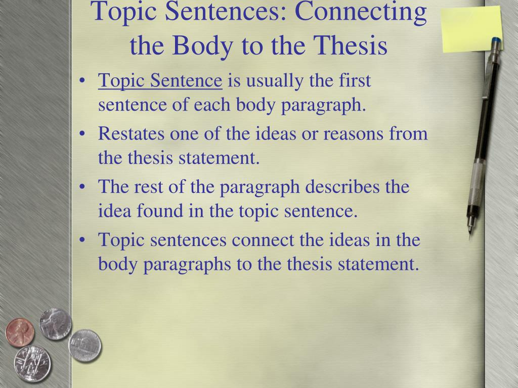 Essay thesis statement topic sentences