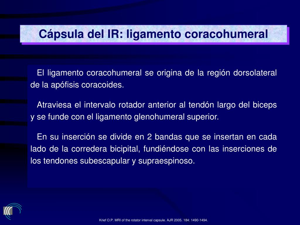 Cápsula del IR: ligamento coracohumeral