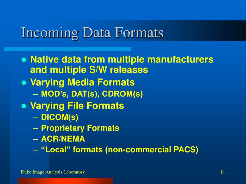 Incoming Data Formats