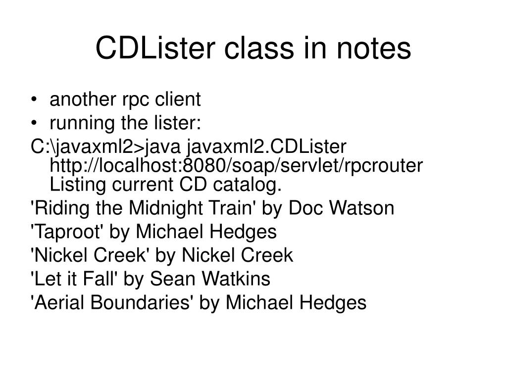 CDLister class in notes