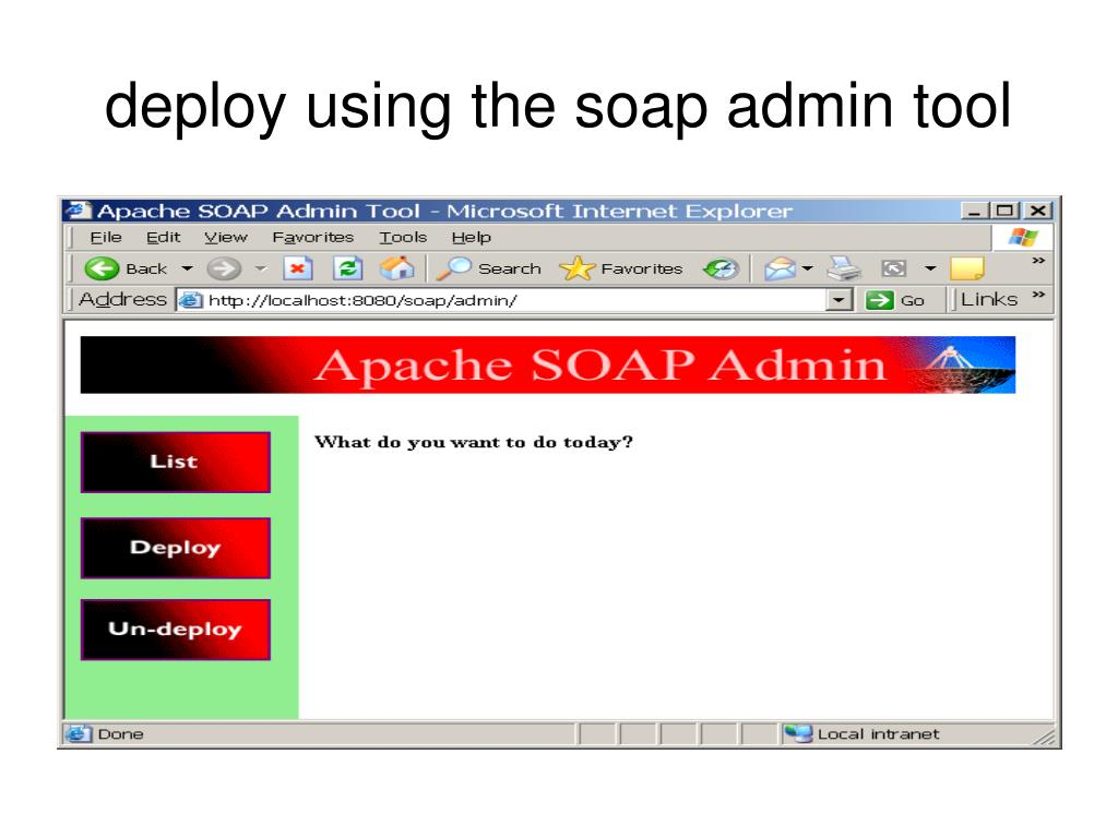 deploy using the soap admin tool