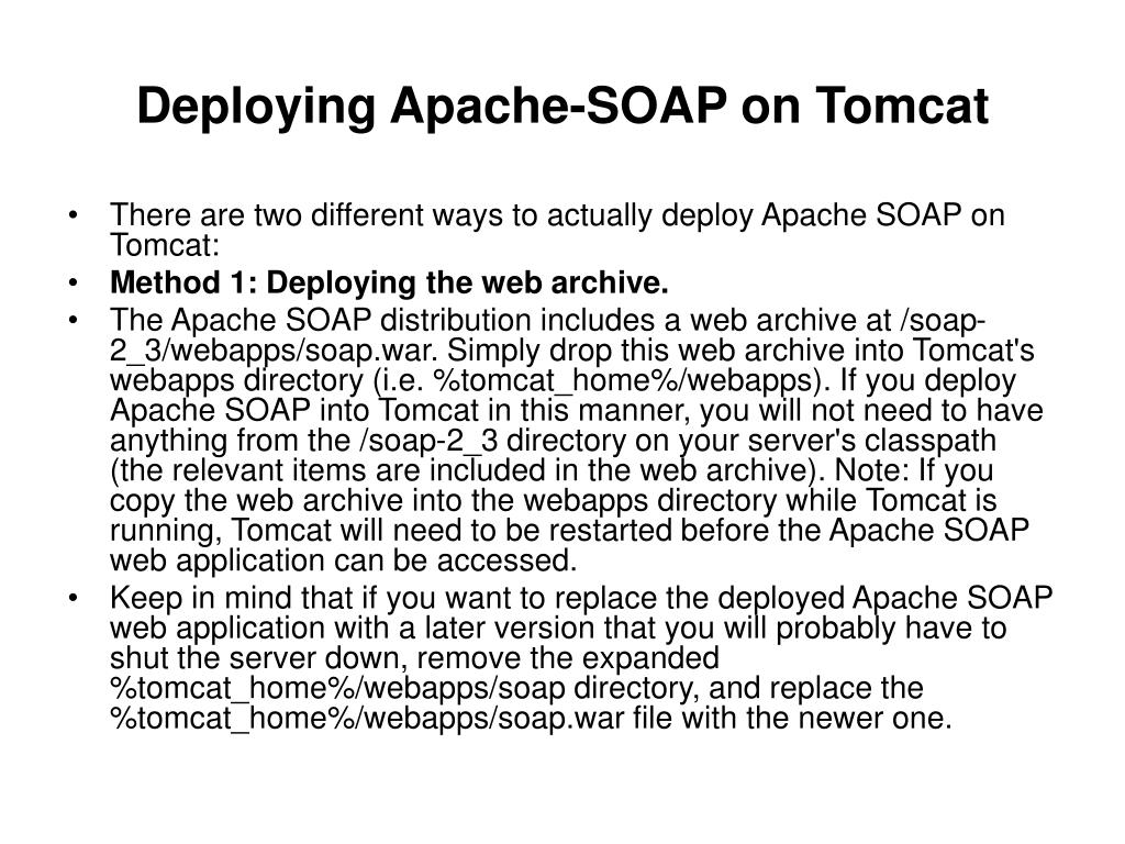 Deploying Apache-SOAP on Tomcat