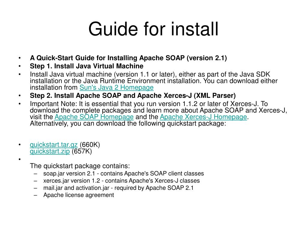 Guide for install