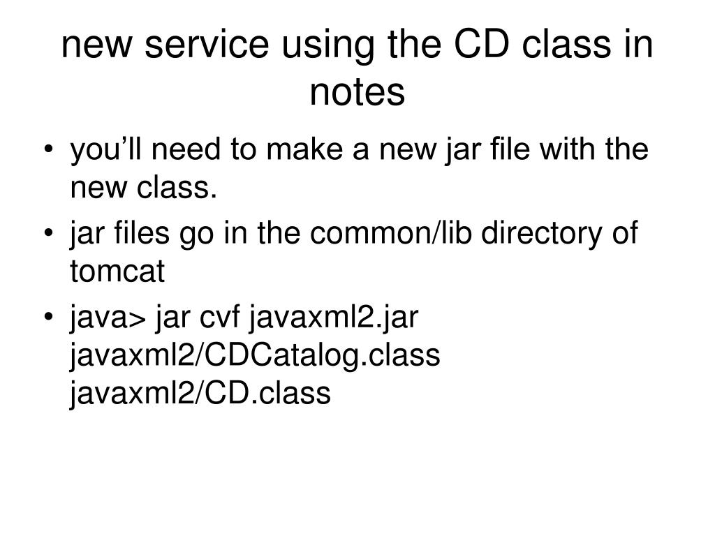 new service using the CD class in notes