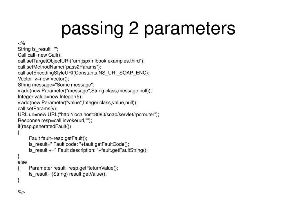 passing 2 parameters
