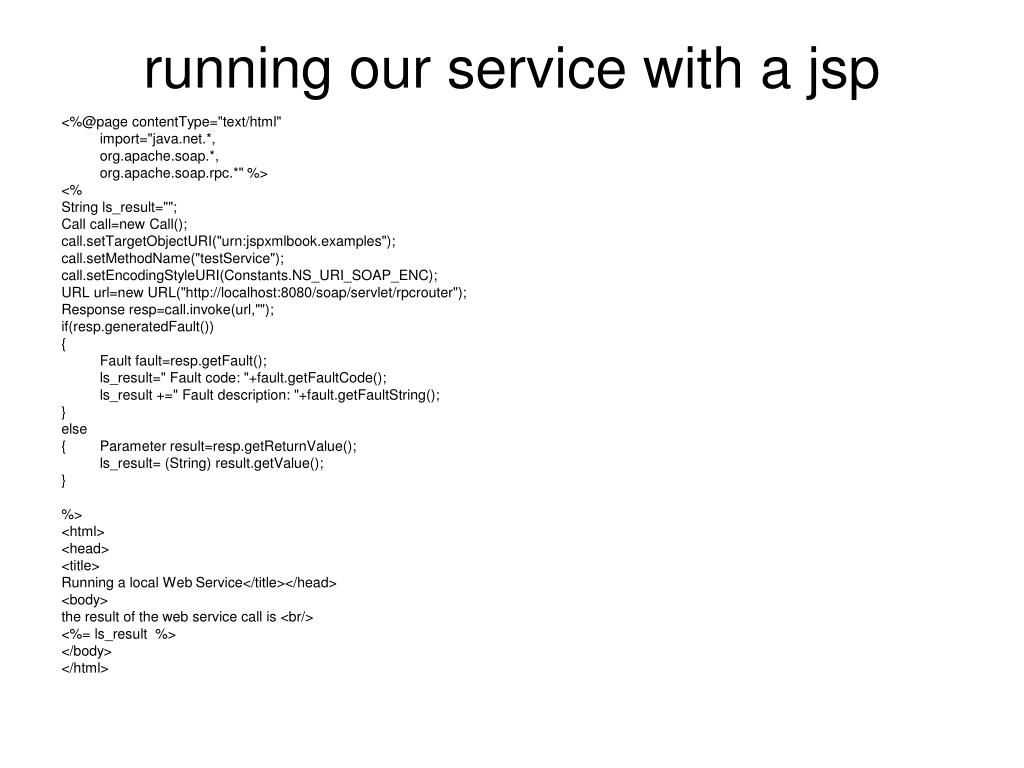 running our service with a jsp