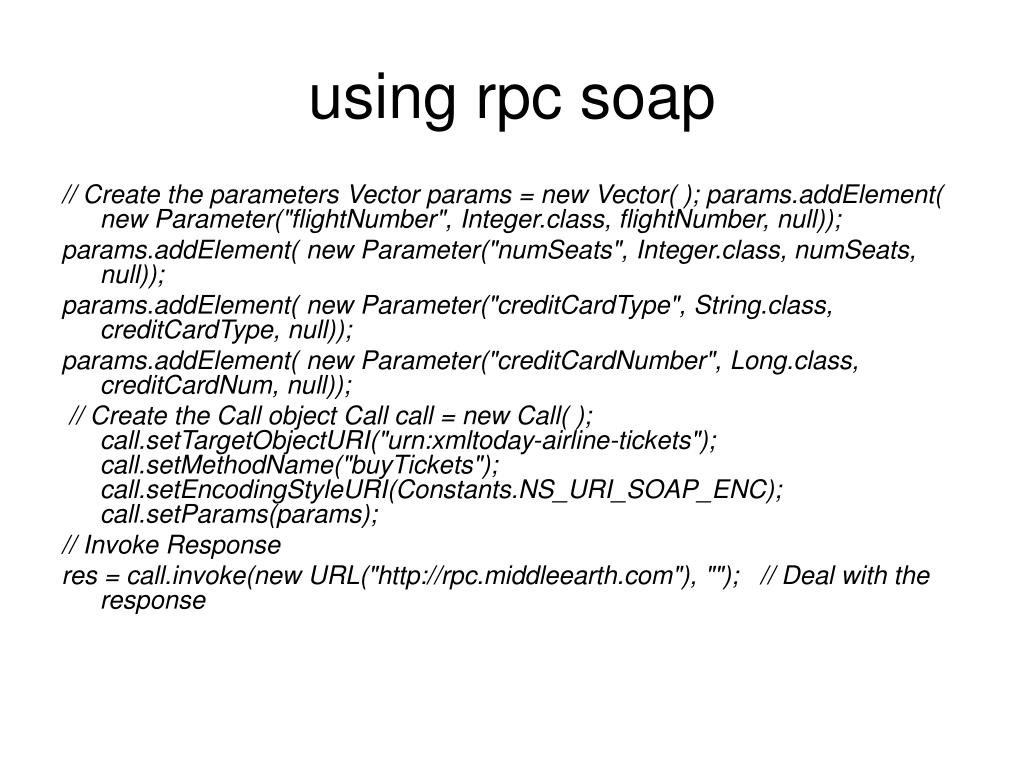using rpc soap