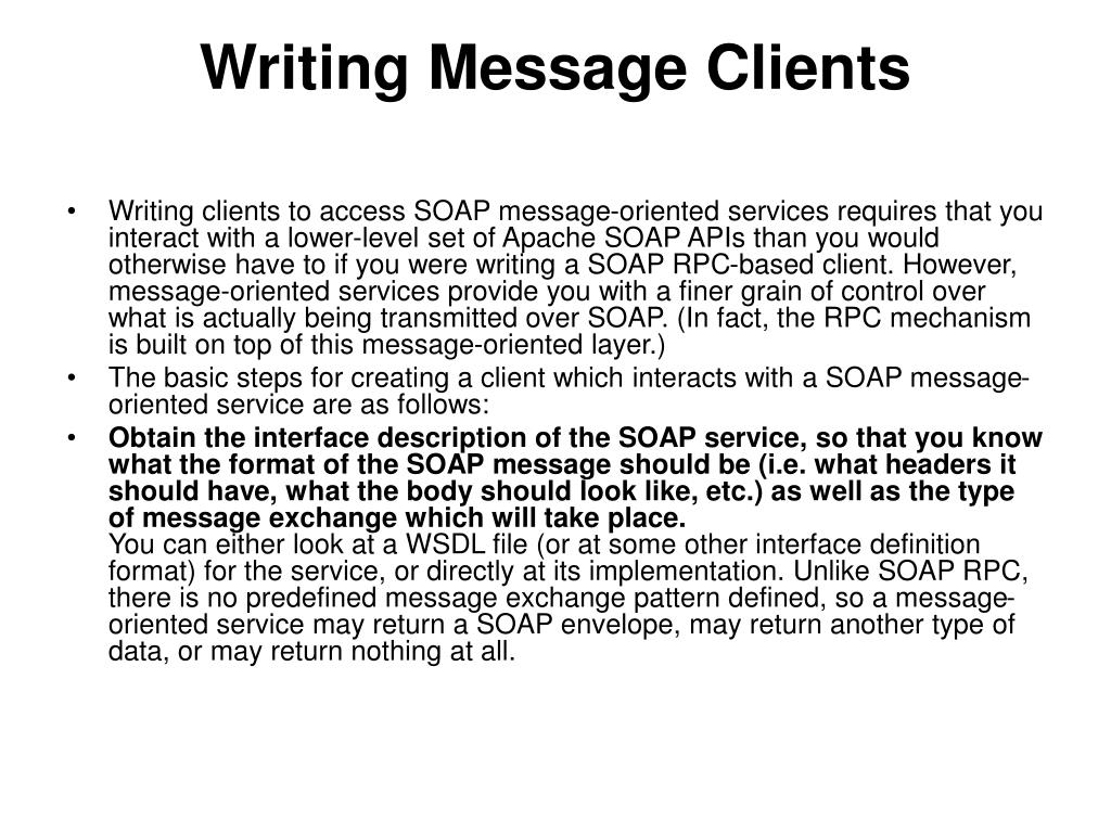 Writing Message Clients