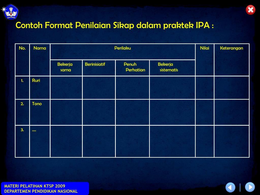 Contoh Format Penilaian Sikap dalam praktek IPA :