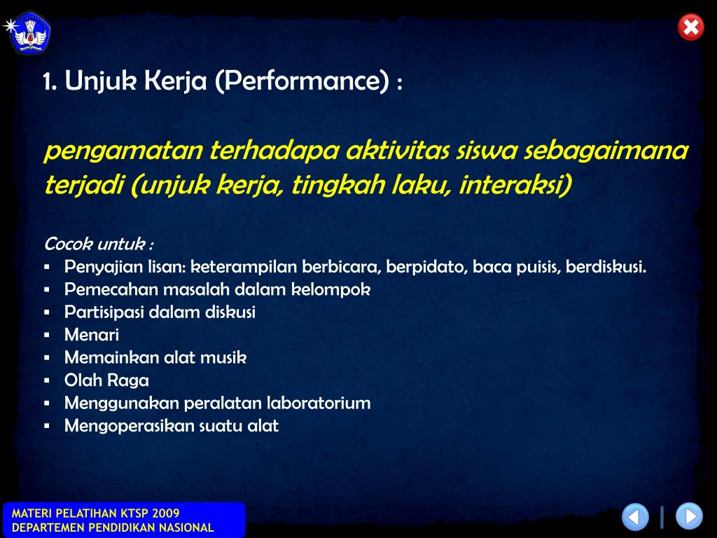 1. Unjuk Kerja (Performance) :