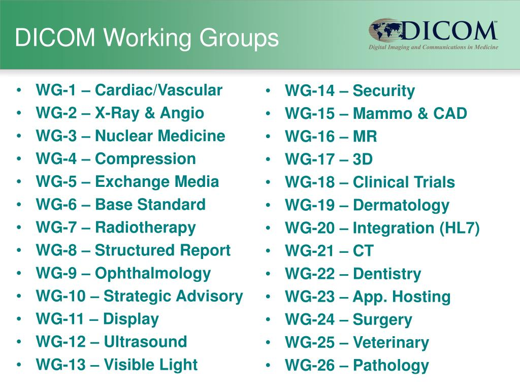 DICOM Working Groups