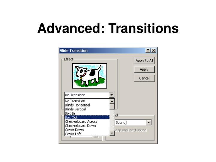 Advanced: Transitions