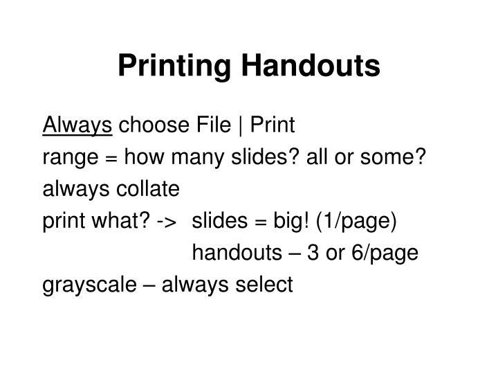Printing Handouts