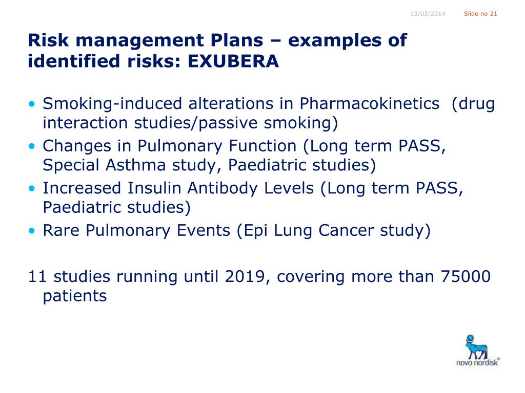 Risk management Plans – examples of identified risks: EXUBERA
