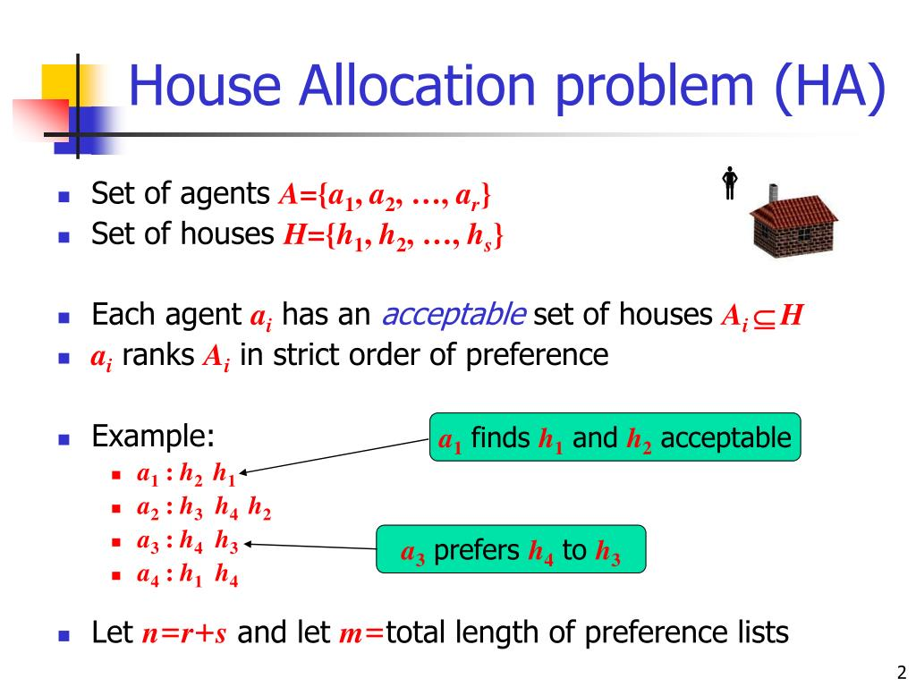 House Allocation problem (HA)