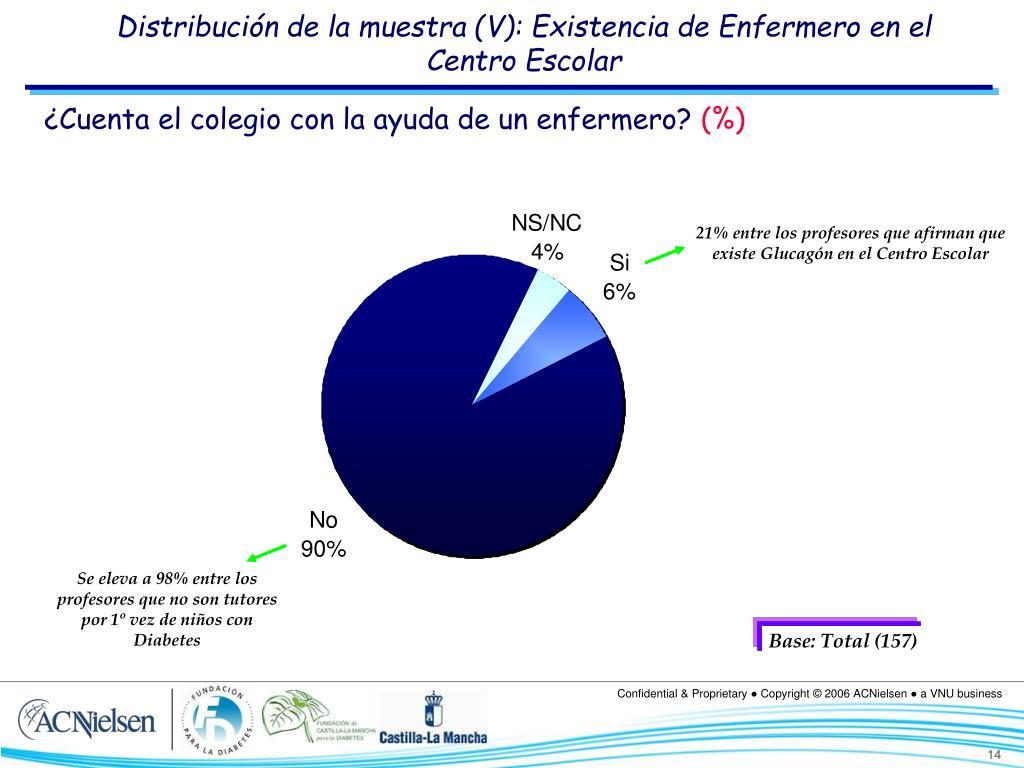 Distribución de la muestra (V): Existencia de Enfermero en el Centro Escolar