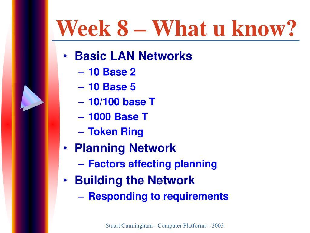 Week 8 – What u know?