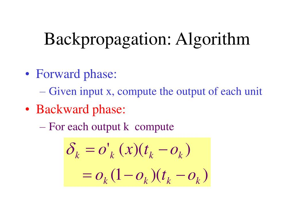 Backpropagation: Algorithm