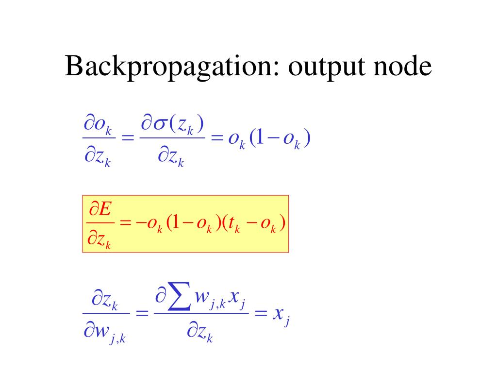 Backpropagation: output node