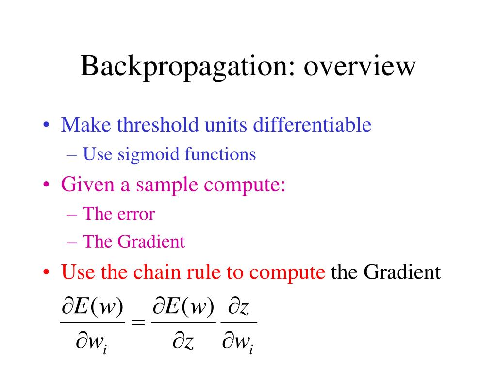 Backpropagation: overview