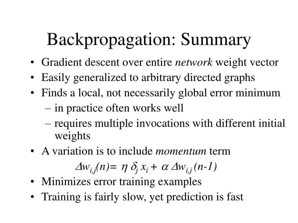 Backpropagation: Summary