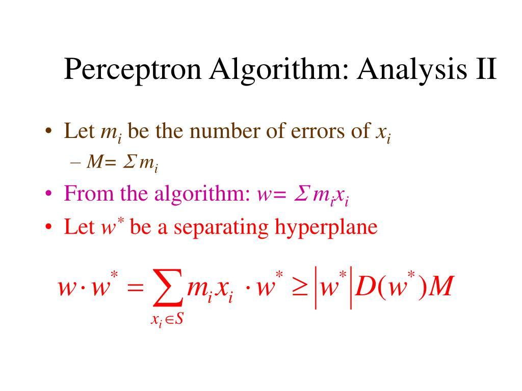 Perceptron Algorithm: Analysis II