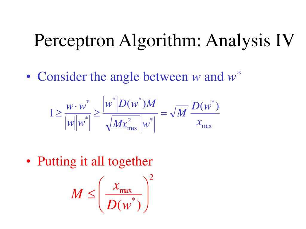 Perceptron Algorithm: Analysis IV