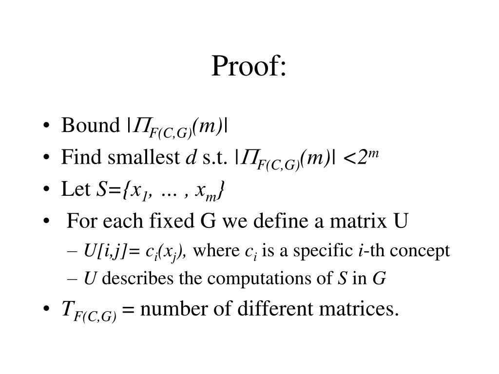 Proof: