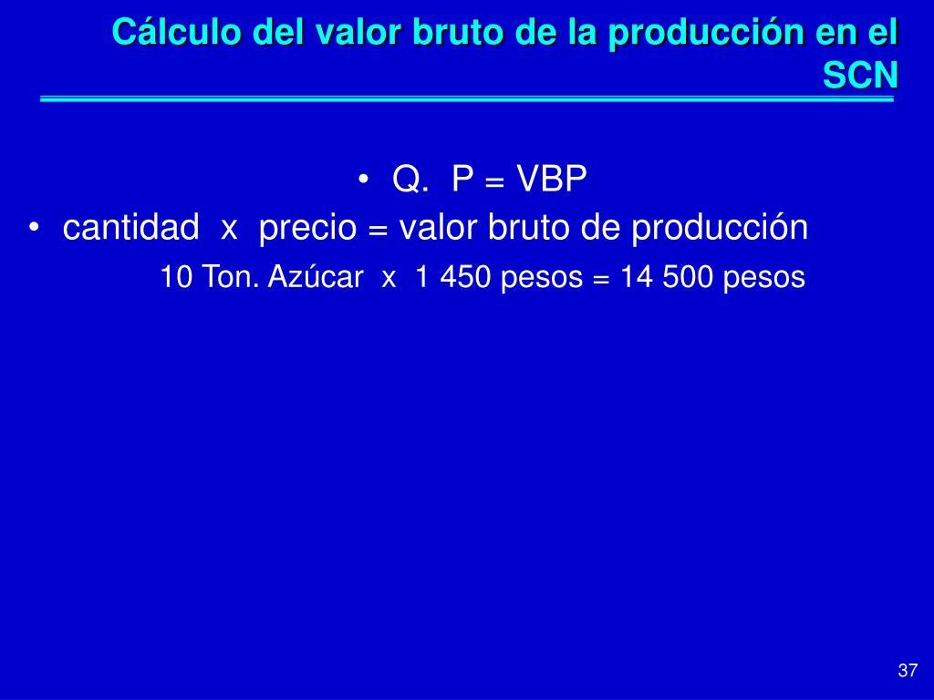 Cálculo del valor bruto de la producción en el SCN