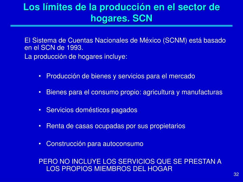 Los límites de la producción en el sector de hogares. SCN
