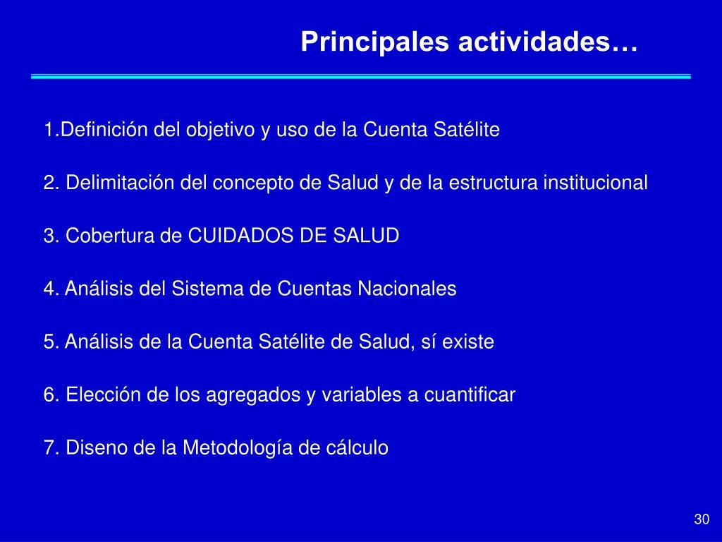 Principales actividades…