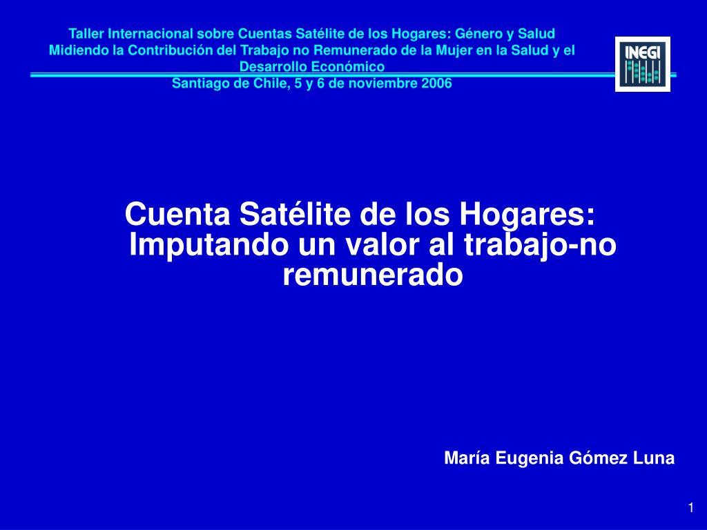 Taller Internacional sobre Cuentas Satélite de los Hogares: Género y Salud