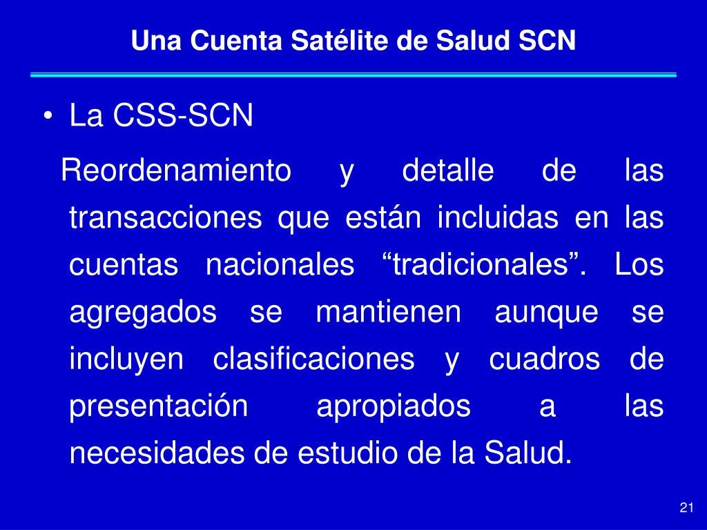 Una Cuenta Satélite de Salud SCN