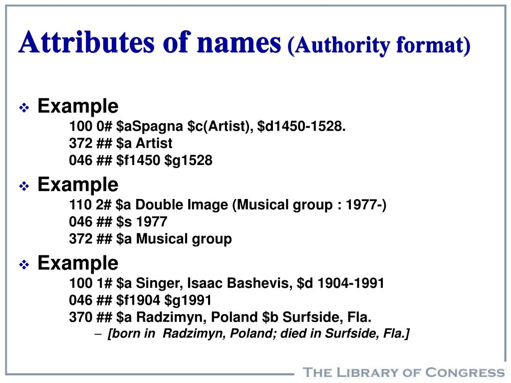 Attributes of names