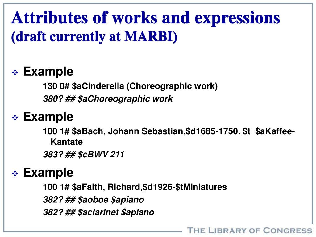 Attributes of works and expressions