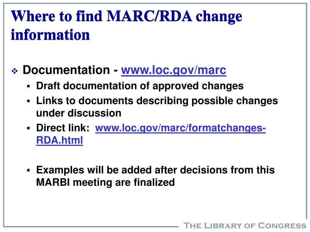 Where to find MARC/RDA change information