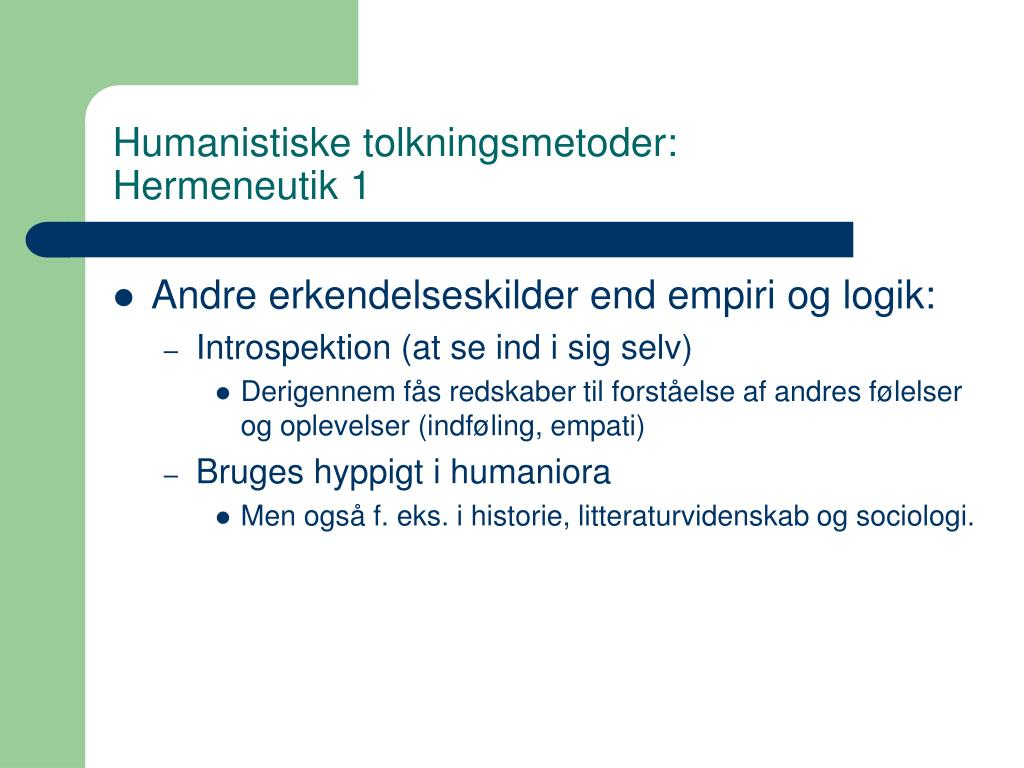 Humanistiske tolkningsmetoder: