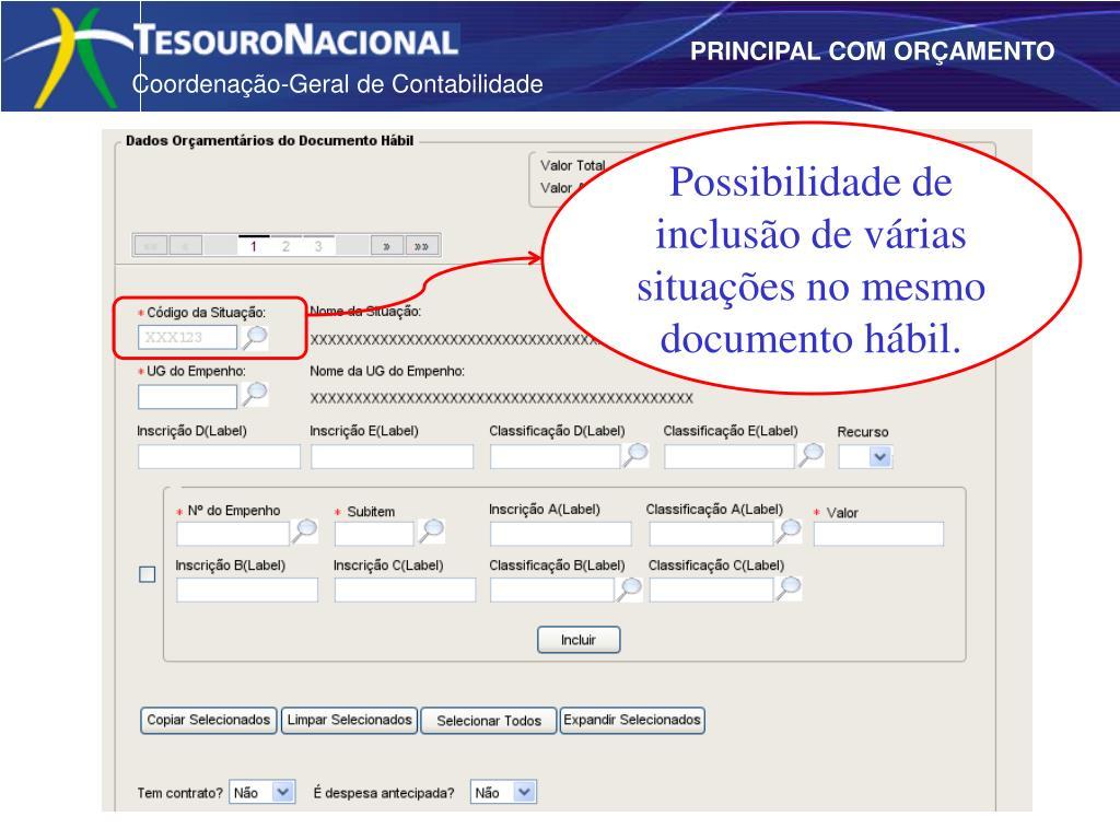 Possibilidade de inclusão de várias situações no mesmo documento hábil.