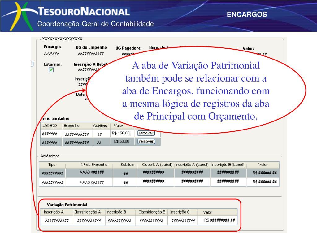 A aba de Variação Patrimonial também pode se relacionar com a aba de Encargos, funcionando com a mesma lógica de registros da aba de Principal com Orçamento.