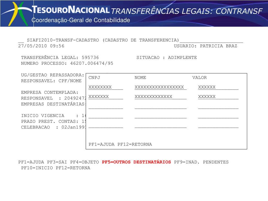 TRANSFERÊNCIAS LEGAIS: CONTRANSF