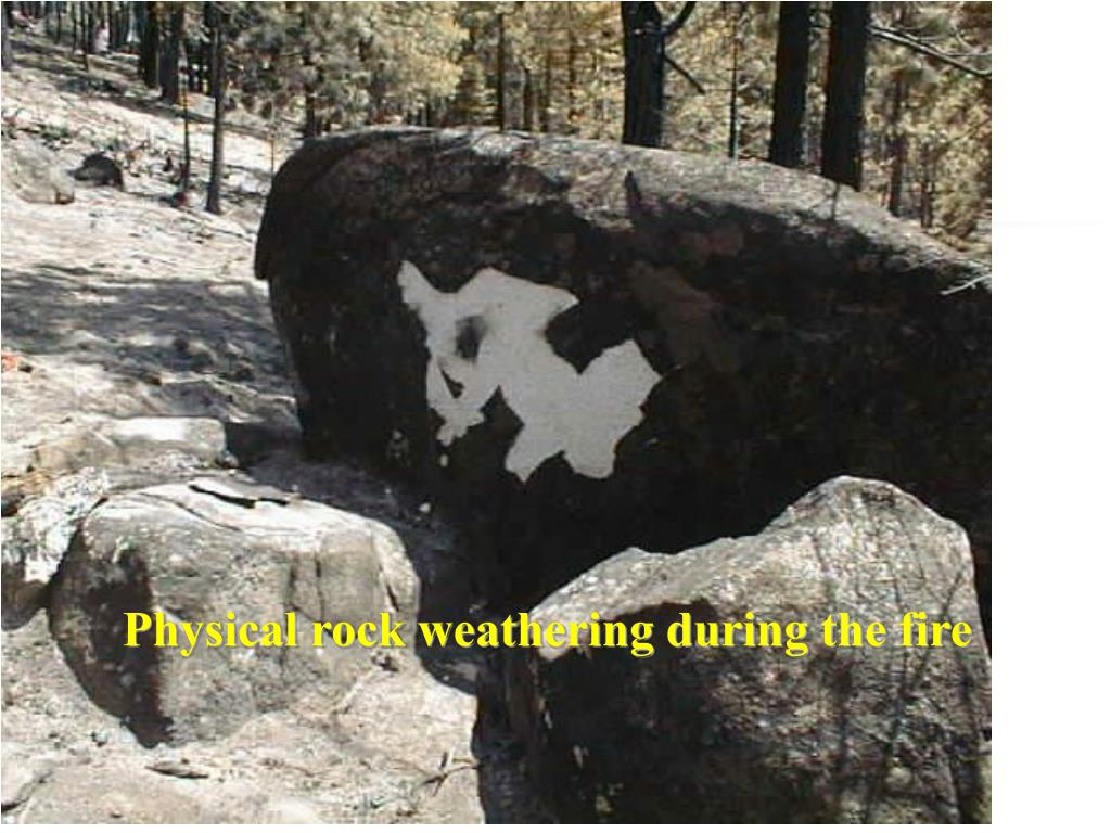 Physical rock weathering during the fire