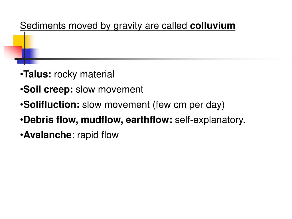 Sediments moved by gravity are called
