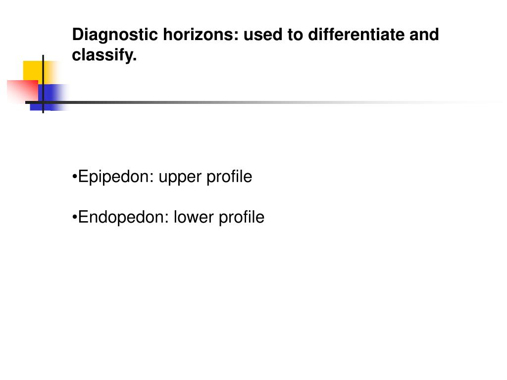 Diagnostic horizons: used to differentiate and classify.